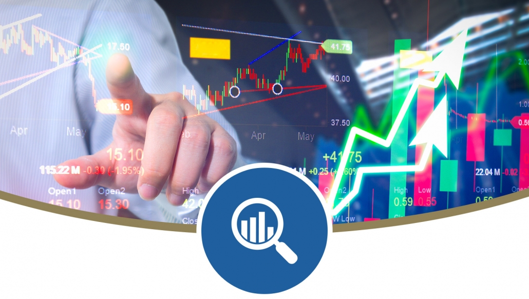 Stock market digital graph chart on LED display concept